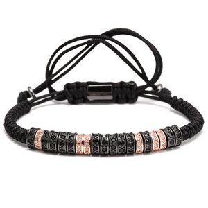 Bracelet Gentleman Handcrafted Macrame Bracelets Bangles African Micro Pave Crystal Zircon Bead Bracelet Man Jewelry
