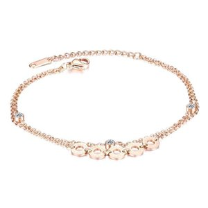 sexy Double layer stainless steel anklets for women 2020 fashion Rose gold Roman numerals summer beach feet accessories jewelry