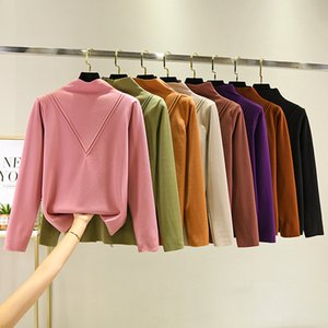 2020 Winter New Style Korean-style Half Turtleneck Casual Long-sleeved T-shirt Women's W