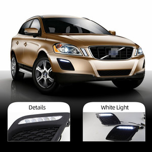 1 Pair Daytime Running Lights Daylight Car LED DRL Fog head Lamp cover car-styling For Volvo XC60 2011 2012 2013