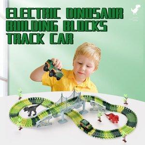 192pcs electric dinosaur building blocks track car diy creative circular rail vehicle for kids boys early education 01