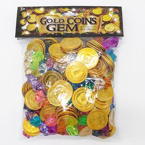 Pierres précieuses Monnaie d'or Pirate en gros Série Jouets Activité Dessiner Props Props jeu pour enfants Halloween Cadeaux de Noël
