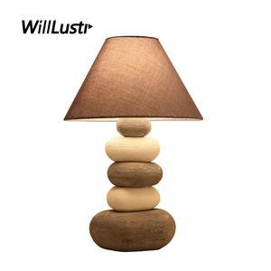 Moderne Keramik Tischlampe Stoffschirm Kreative Cobblestone Light Hotel Wohnzimmer Study Bedside Mode Porzellan Beleuchtung