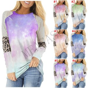 Women Clothes Fashion Striped tie-dye color Tops Long Sleeve T shirt Trendy T-shirt Patchwork Color Autumn Winter Sports Casual Top D81101