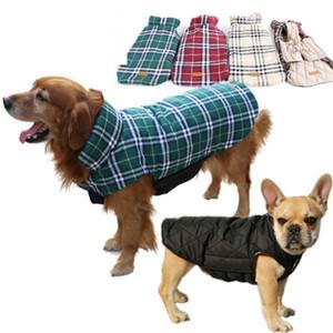 Kış Köpek Ceket Sıcak Pet Giysileri Açık Su Geçirmez Geri Dönüşümlü Moda Ekose Yavru Mont Kalınlaşmak Pamuk Yastıklı Köpekler Giyim