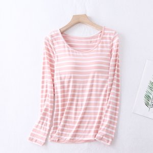 Modal women's chest pad five-finger Cup striped loose style long sleeve -t Cup integrated T-shirt home wear Home clothes bra bra