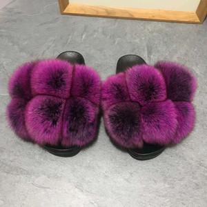 Fábrica direta atacado mulheres esferas de pele slides não deslizante sandálias de pele fox macia