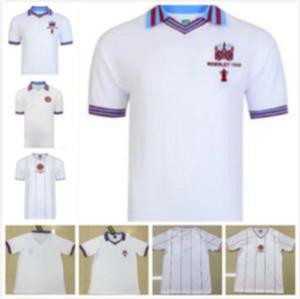 1982 Version rétro Aston Villa Soccer Jerseys 1980 ASTON VILLA VILLA HOÎTRE BLANCHE HAUTE QUALITE CHEMISE DE CHEMISE UNIFORME