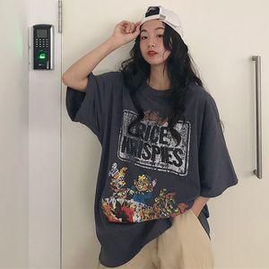 Vintage Dwarfs Cartoon Print Summer Tshirts Women Casual Oversized Shirts Funny Letter Long Tops Plus Size Short Sleeve W438