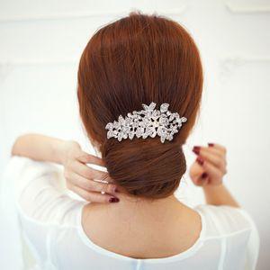 High-end Fashion Bridal Headgear Inlaid with Rhinestone Alloy Flower Hair Comb Wedding Accessories Faux Pearls Headpieces