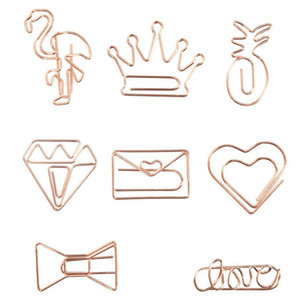 Grampos de papel Flamingo Rose Gold Crown Metal Papel criativa clipes Bookmark clipes Memo planejador Papelaria Escolar Escritório TQQ BH2529