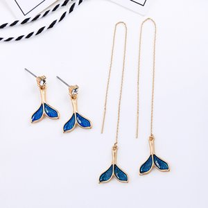 BALANBIU Holiday Seaside Style Unique Blue Enamel Fishtail Stud Earrings For Women Gifts Alloy Earrings Newest Fashion Accessory