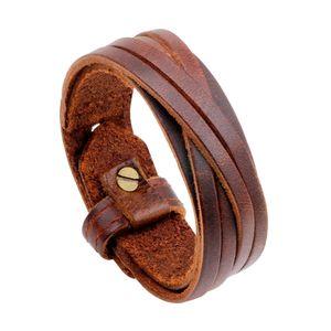 2020 New Vintage Men Bracelet Genuine Leather Bangles Punk Weave Wristband Bracelets Fashion Jewelry Boyfriend Gift