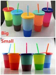 New 480ml 710ML Cor Mudar Cup termocrômico copo cor mudança PP com tampa e palha 5 opções de cores