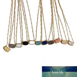 Серебро Золото Покрытие Кендра Druzy Drusy ожерелье Яркие серьги Скотт Серебряный позолоченный Geometry камень Смола ожерелья Рождественский подарок