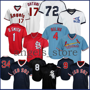 2020 Red 9 Ted Williams Sox Ortiz Jersey 4 Yadier Molina Cardinal Smith 27 Mike Truta Anjos 17 Ohtani branco de Chicago 8 Bo Jackson 72 Fisk