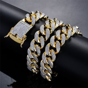18mm 18inch 22inch Gold Plated Prong Setting CZ Stone Miami Cuban Chain Necklace Rapper Street Jewelry for Men Hot Sale