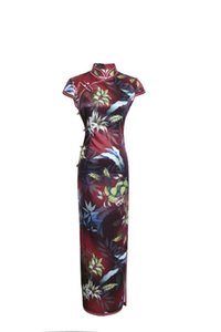 Shanghai Story Leaves Print Qipao Dresses Long Chinese Traditional Dress Cheongsam For Women