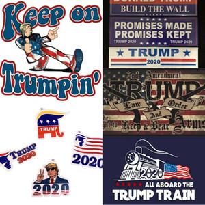 18 stilleri Donald Trump 2020 Araba Etiketler Tampon etiketi koz lokomotif çıkartmaları Tren pencere Sticker Amerika bayrağı çıkartması
