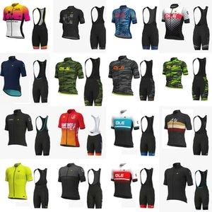 2020 Une nouvelle équipe Ale Hommes Cyclisme manches courtes en jersey bib ensembles de shorts Vêtements cycliste Route course sportwear vélo Uniforme S090212