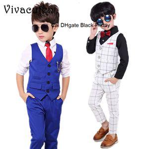 Boys Formal Suits Kids Weeding Party Sets Gentleman Vest Pants 2pcs Kids Waistcoat Costumes Children Fashion Outfits Clothes D01