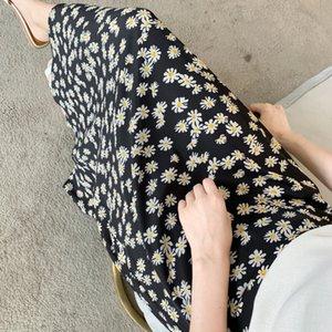 Pvfbk 2020 Oil Estate pittura Taro viola chiffon floreale Gonna a vita alta olio romantica pittura gonna in chiffon stampato per le donne