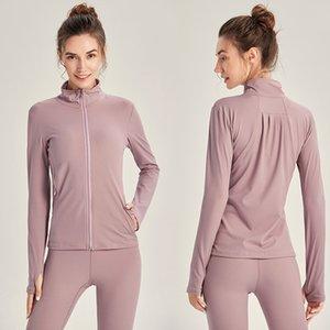 Antibom Kadınlar Yoga Soprts Ceket Uzun kollu Fermuar Açık Coats Başparmak Delik Hızlı Kuru İnce eşofman Running