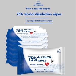 Mayorista envío 75% de alcohol toallitas húmedas Wipe portátil desinfección Dipe 10pcs viajes antiséptico limpiador Esterilización DHD1572