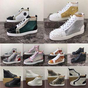 2020 Homens Mulheres Sapatos casuais Red inferior Studded Spikes Moda Plataforma Insider Sneakers Black Red White prata Couro alta Botas Size34-48