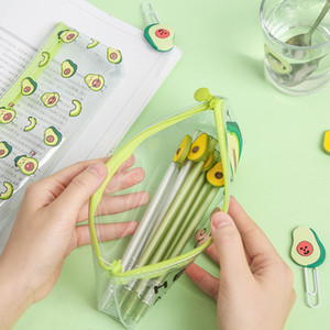 Kawaii Transparent Pen Case Cute Avocado Pencil Case Large Capacity Pencil Bag For Kids Girls Gifts School Office Supplies