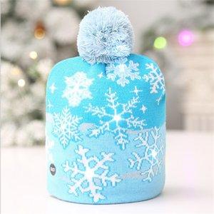 Presente de punto ABEDOE Decoración de Navidad LED parpadeante de vacaciones de Navidad sombrero de fiesta de cumpleaños del sombrero de la gorrita tejida de Año Nuevo