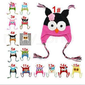 Çocuk Karikatür Sıcak Bebek Baykuş Kulak Flap Örgü Şapka Bebek Bebek El yapımı Tığ Sevimli OWL kasketleri Parti Şapkası Tedarik RRA3467