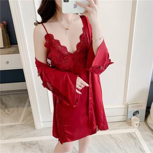 Nightgown Terno de SIMISI Mulheres Sólidos Bordados Lace Sets Sexy Pijamas Silk Satin Robe fresco e respirável lazer Início Clothes