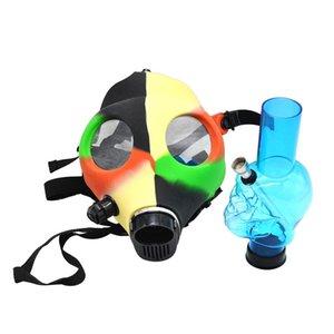 heady glass hand pipe glass smoke pipe Gas Mask Bong Both Glow in the Dark Water Shisha Acrylic Smoking Pipe Sillicone Mask Hookah Tobacco T
