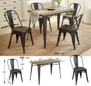 US Stock FAST Shipping U_STYLE 5-Piece Metal Dining Set with Solid Wood SL000024DAA