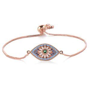 Pipitree Empfindlich Princess Cut Blue Zircon schlechte Augen-Armband Slider-Ketten-Charme-Armbänder für Frauen Trendy Schmuck Pulsera