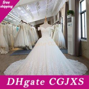 Vente Èlegant V -Neck A -ligne Robes de mariage perlée offre épaule Appliques lacé dans le dos Tulle réel Image en magasin de mariée mariage Gow