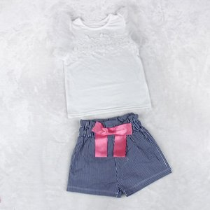 Lace T-shirt+Stripe Shorts Set Clothes Suit baby kids Girls sweet Lady fashion style new arrival August 9