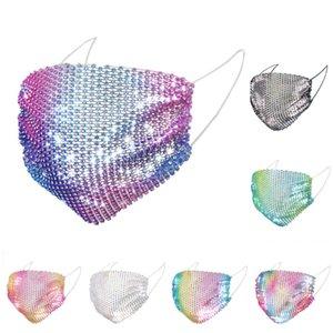 Elmas Parti Rhinestone Izgara Net Kadınlar için Yıkanabilir Seksi Hollow Mask Maske Bling 100pcs DHL Moda Renkli Mesh Maskeler