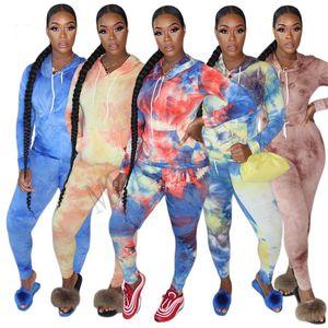 Kadınlar Tie Bluzlar Kapşonlu Kazak Tops ve Tozluklar Pantolon boya İki Adet Kıyafetler Eşofman sweatshirt spor giyim Seti D81010 Isınma