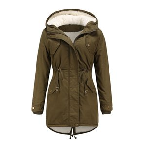 Fashionable casual coat Autumn winter new cotton-padded jacket women's solid color hooded rope waist thick cotton-padded jacket with velvet