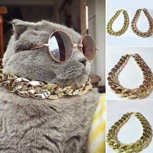 Dog Cat Pet Chain Collar Adjustable Punk Gold Plated Puppy Safety Training Collar Pet Supplies