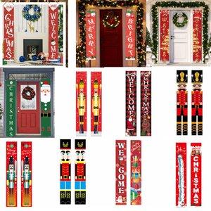 25style Noël Couplets Joyeux Noël Bannière portes suspendues bannière porche signe drapeaux suspendus Décorations de Noël rideau Couplet GGA3750-3