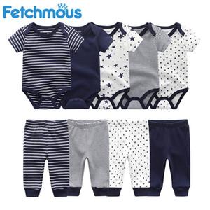 Fetchmous Bodysuits + Pantolon Erkek Bebek Giyim Bebek Kız Giyim Unisex Yenidoğan tulum Giyim Pamuk roupa de