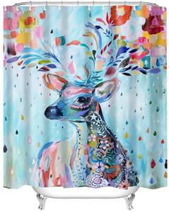 Занавески для душа 180 х 180 см Красочный мультфильм Лось Олень Mold Proof Устойчив против плесени водонепроницаемый полиэстер Ткань с пластиковыми крючками