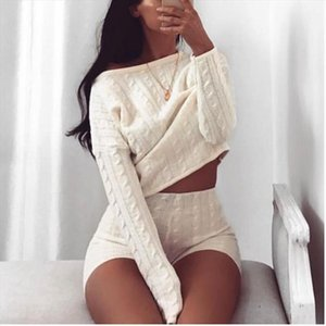 Meihuida Autumn Winter 2pcs Women Casual O Neck Long Sleeve Cable Loose Warm Soft Knitted Crop Top Shorts Suit Tracksuit Set