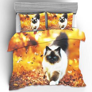 3D Animal Bedding Sets Autumn Cat Giraffe Elk Duvet Cover Pillowcase Twin Full Queen King Size Bedlinen 3pcs Home Textiles Dropshipping