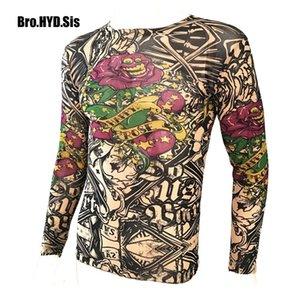 Funny Long Sleeve Fake Tattoo T Shirts All Over Print Men Women Arts Shirt Elastic Slim Fit Modal Thin Halloween Clothes 0921