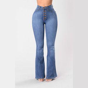Vendimia de la elegancia de las señoras de la llamarada de los pantalones vaqueros de 2020 del verano del resorte de la alta cintura de las mujeres elegantes empujan hacia arriba la parte inferior de campana pantalones de pierna ancha más el tamaño 3XL 4XL CX200821