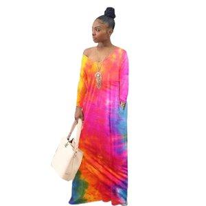 Kadınlar Batik Elbise Uzun Kollu V Yaka İlkbahar Sonbahar Gradyan Gevşek Elbiseler Bayanlar Günlük Giysiler